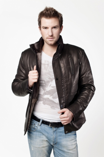 Кожаная куртка на меху арт 8257