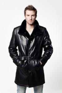 Кожаное пальто на меху арт 11442