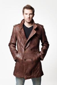 Мужское кожаное пальто арт ANGELINO