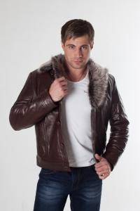 Кожаная куртка на меху арт 3064