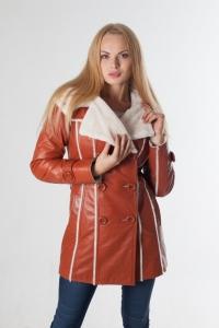 Кожаное пальто на меху 11047