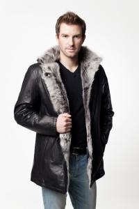 Мужская кожаная куртка на меху арт. 1108