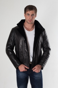 Кожаная куртка на меху арт 18008
